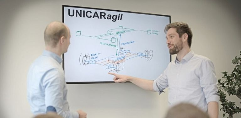 Bild von zwei Männern, die das Modell eines autonom fahrenden, elektrischen Autos erklären; Projekt: UNICARagil